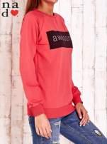 Czerwona bluza z napisem AWESOME                                  zdj.                                  3