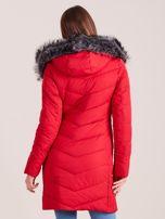Czerwona długa kurtka na zimę                                  zdj.                                  3