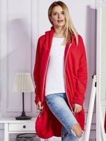 Czerwona długa ocieplana bluza z kapturem                                   zdj.                                  7