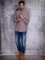 Czerwona koszula męska w kratę z podwijanymi rękawami PLUS SIZE                                  zdj.                                  4