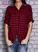 Czerwona koszula w drobną kratkę z denimową wstawką                                  zdj.                                  1