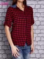 Czerwona koszula w drobną kratkę z denimową wstawką                                  zdj.                                  3