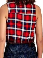 Czerwona koszula w kratę z koronkowym dołem