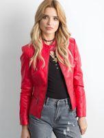 Czerwona kurtka biker ze skóry ekologicznej                                  zdj.                                  1