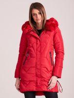Czerwona pikowana kurtka na zimę                                  zdj.                                  1