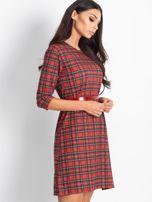 Czerwona prosta sukienka w kratkę                                  zdj.                                  2