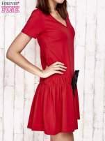 Szara sukienka dresowa z kokardą z przodu                                                                          zdj.                                                                         3