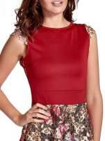 Czerwona sukienka z koronkowym kwiatowym dołem                                                                          zdj.                                                                         5
