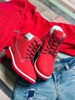 Czerwone buty trekkingowe damskie traperki                                                                           zdj.                                                                         2