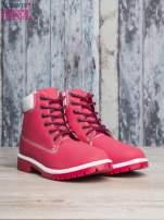 Czerwone buty trekkingowe damskie traperki                                                                           zdj.                                                                         3