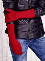 Czerwone długie rękawiczki z drapowanym rękawem