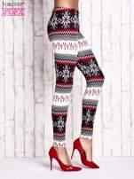 Czerwone legginsy w norweskie wzory                                                                          zdj.                                                                         2