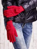 Fuksjowe rękawiczki z kokardką i długim ściągaczem                                                                          zdj.                                                                         3