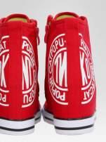 Czerwone trampki na koturnie sneakersy z logo