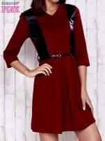 Czerwono-czarna sukienka ze skórzanymi wstawkami                                                                          zdj.                                                                         1