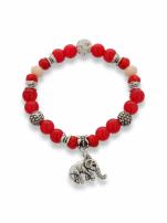 Czerwono  - srebrna Bransoletka koralikowa