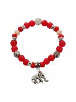 Czerwono  - srebrna Bransoletka koralikowa                                  zdj.                                  2