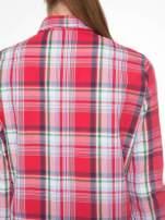 Czerwono-zielona klasyczna koszula w kratę z kieszeniami