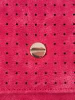 Czerwony ażurowany portfel ze złotym suwakiem                                  zdj.                                  5