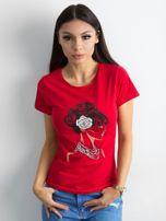 Czerwony bawełniany t-shirt z printem                                  zdj.                                  1