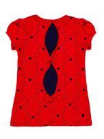 Czerwony t-shirt dla dziewczynki z naszywkami                                  zdj.                                  2