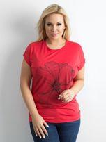 Czerwony t-shirt z nadrukiem PLUS SIZE                                  zdj.                                  1