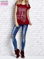 Czerwony t-shirt z napisem YOU ARE STAR IN MY HEART z dżetami