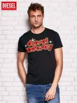 DIESIEL Czarny t-shirt męski z kolorowym napisem                                  zdj.                                  1