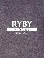 Damska bluza ze znakiem zodiaku RYBY ciemnoszara                                  zdj.                                  2