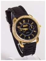 Damski zegarek z cyrkoniami oraz ozdobnym chronografem na dużej tarczy. Wygodny silikonowy pasek.                                  zdj.                                  5