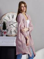 Długi ażurowany sweter pudroworóżowy                                  zdj.                                  5