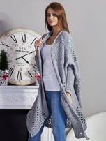 Długi ażurowany sweter szary                                  zdj.                                  3