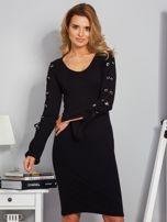 Dopasowana sukienka z rękawami lace up czarna                                  zdj.                                  1