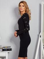 Dopasowana sukienka z rękawami lace up czarna                                  zdj.                                  5