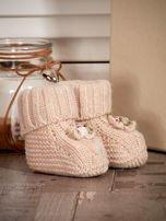 Dziergane buciki dziewczęce z kwiatuszkami beżowe                                  zdj.                                  3