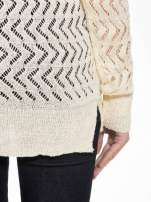 Ecru ażurowy dłuższy sweter                                  zdj.                                  8