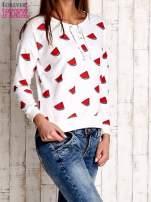 Ecru bluza w arbuzy z wiązaniem