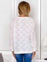 Ecru bluza z ażurowym motywem kwiatowym