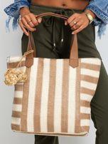Ecru-brązowa torba w paski                                  zdj.                                  2