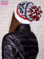 Ecru czapka w etniczny wzór                                                                          zdj.                                                                         2