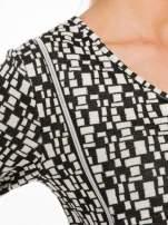 Ecru-czarna bluzka w geometryczne wzory z suwakami                                  zdj.                                  5
