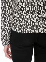 Ecru-czarna bluzka w geometryczne wzory z suwakami                                  zdj.                                  9