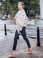 Ecru-czarny szalik damski w kratę                                  zdj.                                  5