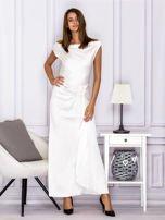 Ecru długa sukienka z drapowaniami                                  zdj.                                  1