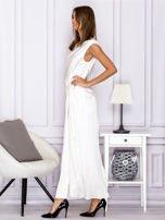 Ecru długa sukienka z drapowaniami                                  zdj.                                  5