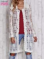 Ecru długi sweter na guzikii                                  zdj.                                  5