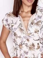 Ecru koszula z kwiatowym motywem i ażurowym tyłem                                  zdj.                                  5