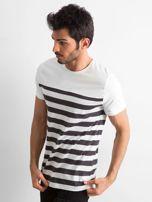 Ecru męski t-shirt w paski                                  zdj.                                  3