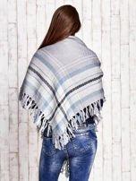Ecru-niebieska dzianinowa chusta z frędzlami                                  zdj.                                  2