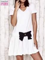 Szara sukienka dresowa z kokardą z przodu